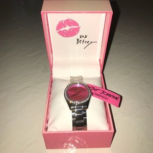 Betsey Johnson Pink & Silver Watch